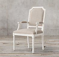 Vintage French Sculpted Back Fabric Armchair