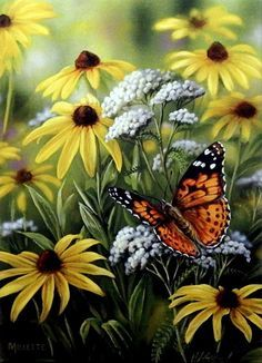 Wrapped Canvas Art Painted Lady Butterfly by Rosemary Millette Beautiful Bugs, Beautiful Butterflies, Animals Beautiful, Beautiful Flowers, Butterfly Pictures, Butterfly Flowers, Monarch Butterfly, Illustration Blume, Butterfly Painting