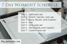 Check out this 7 Day workout schedule get get you started Check out more on Yvette salva Fitness Blog