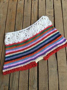 Crochet Daisy Striped Shorts Beach Bottom Yoga Boho Hippie
