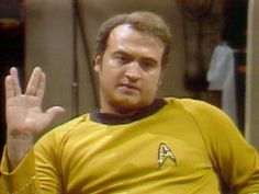 """John Belushi signing off as Captain Kirk in Saturday Night Live's skit """"The Last Voyage Of The Starship Enterprise"""", May Best Of Snl, Tim & Eric, Snl Cast Members, The Blues Brothers, Starship Enterprise, Actor John, Comedy Show, Old Tv Shows, Vintage Tv"""