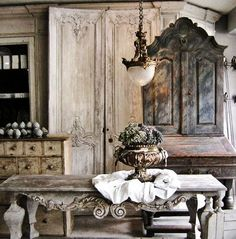 Decoration Decorate Homes Architecture Ideas: French Table Antiques Cupboard Gray Blue Furniture Light Fixture Brocante Flea Market Style Home Room Decorating Interior Decor Eclectic Ideas