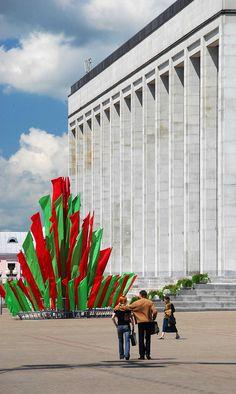 Palats Republiki, one of the many grandeur Stalinist buildings in Minsk, BELARUS.