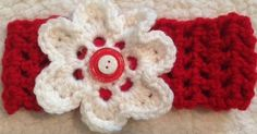 Crochet Valentines Day Headband red and white girls adults, babies on Etsy, $4.50