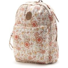 O'Neill Rylie Backpack ($35) ❤ liked on Polyvore featuring bags, backpacks, pearl, day pack backpack, brown bag, brown laptop backpack, floral-print backpacks and floral laptop bag
