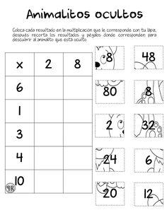 Proyectos educativos ¡Y más!: Animalitos ocultos. Actividades de multiplicación. Number Writing Practice, Writing Numbers, Math Games, Math Activities, School Frame, Montessori Math, Primary Maths, 4th Grade Math, Math For Kids