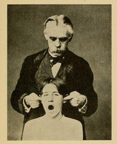 """Figure 11. Springing the jaws.Osteopathic First Aids to the Sick Written for the Sick People.1906. """"Repeat several times. Sometimes this treatment is painful, therefore use no more pressure than the patient can bear."""""""