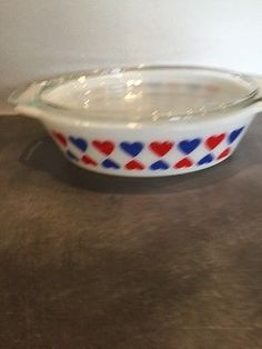 Rare vintage JAJ Pyrex HEART glass casserole oven dish. I love the hearts man and another dish perfect for the 4th lol