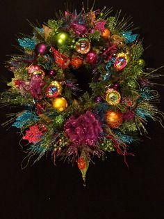 Christmas Wreath in Lime Fuchsia Teal Peacock Christmas, Bohemian Christmas, Christmas Colors, Beautiful Christmas, All Things Christmas, Christmas Themes, Holiday Crafts, Christmas Wreaths, Christmas Ornaments