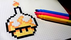 Halloween Pixel Art - How To Draw Candle Mushroom #pixelart