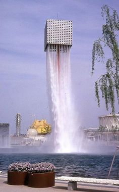 floating fountain by isamu noguchi, in osaka japan.