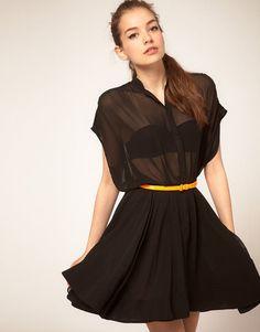 sheer black shirtdress