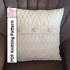"""PDF KNITTING PATTERN Chevron textured pillow cover in 2 sizes (20"""" square and 20""""x12"""" rectangle) by LadyshipDesigns, $4.95"""
