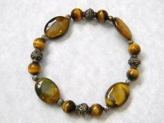 Tigers Eye and Bali Silver Stretch Bracelet