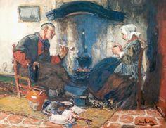 Couple At Hearth by Hans von Bartels