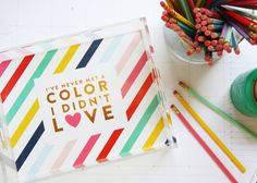 I've never met a color I didn't love - @psstudio color mantra gold foil lucite tray - housewarming gift - office supplies - home organization - http://www.shoppencilshavingsstudio.com/products/limited-edition-neapolitan-stripe-lucite-tray-w-gold-foil-accents
