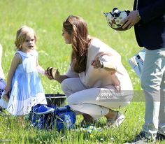 Princess Leonore of Sweden and her mother Princess Madeleine of Sweden are seen visiting the stables on June 3, 2016 in Gotland, Sweden. Duchess Leonore will meet her horse Haidi of Gotland for the first time.