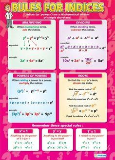 Rules for Indices Poster Math For Kids, Fun Math, Math Activities, Math Art, Gcse Maths Revision, Maths Algebra, Revision Games, Math Vocabulary, Math College
