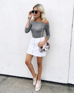 Lush White Denim Skirt, Emily Luciano