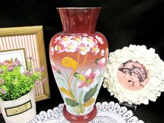 ANTIQUE large Bristol vase victorian glass painted flowered hand blown vase Vases For Sale, Bristol, Victorian, Hand Painted, Shapes, This Or That Questions, Antiques, Glass, Etsy