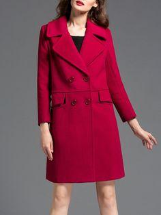 #AdoreWe #StyleWe Coats - SUSONGETH Plain Wool-blend Double Breasted Simple Long Sleeve Coat - AdoreWe.com
