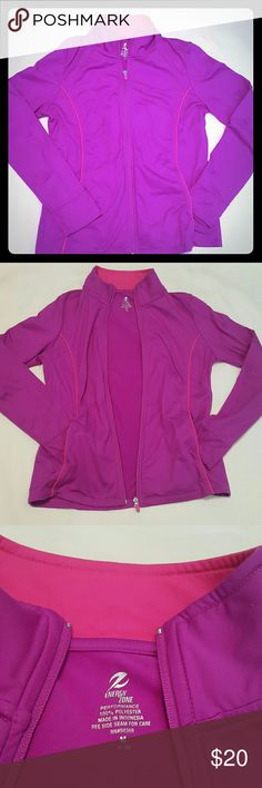 Energy zone zip up Energy zone zip up with pockets, size med.  Beautiful purple color with pink stripes.    100% polyester Tops