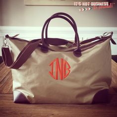 Overnight Tote - Monogram Embroidered Nylon Weekender Tote Bag by itsnotbusinessshop on Etsy https://www.etsy.com/listing/198465421/overnight-tote-monogram-embroidered