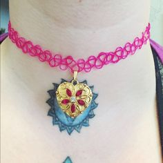 90's Choker Ruby & Gold Heart Necklace Assembled by me. Similar style to Nasty Gal, Moon Cult, Dolls Kill, etc. Vintage 90's styled pink choker with a gold Avon heart pendant. Jewels are Ruby and Crystal. Brand new. Jewelry Necklaces