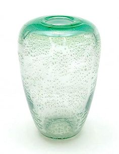 Green glass Unica vase X 1218 with crackle design A.D.Copier 1946 executed by Glasfabriek Leerdam / the Netherlands