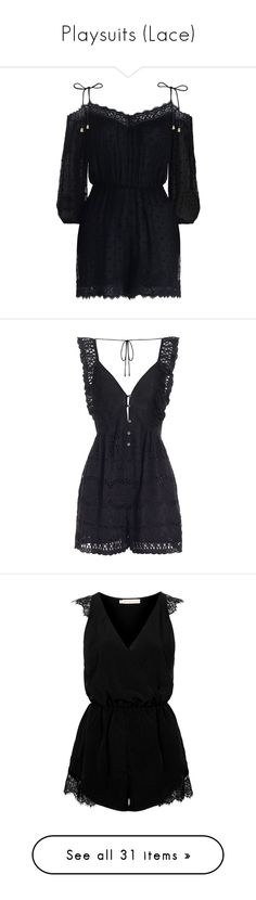"""""""Playsuits (Lace)"""" by giovanna1995 ❤ liked on Polyvore featuring lace, playsuit, jumpsuits, rompers, dresses, jumpsuit, tops, summer romper, polka dot romper and summer jumpsuits"""