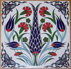 "8""x8"" Turkish Ottoman Ceramic Iznik Tile Hot Plate Trivet 