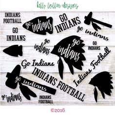 Indians SVG Cut File Pack with 9 Indian Designs for High School and Little League Spirit Shirts