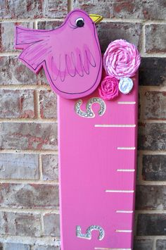 Pink Bird with Flowers Growth Chart by CustomGrowthRulers, $70.00