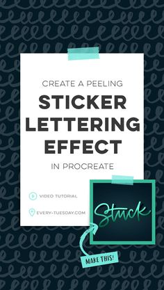 This week, I'm sharing a project tutorial from my most recent online course, Lettering in Procreate! In this tutorial, I share how to create a peeling sticker lettering effect using the latest version of Procreate. Graphic Design Tools, Book Design, Calligraphy For Beginners, Affinity Designer, Lettering Tutorial, Brush Lettering, Design Tutorials, Tuesday, Sticker