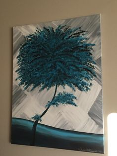 "16x24"" turquoise tree, acrylic abstract painting on canvas ... by myself (Valerie Rose) and was sold for $80"