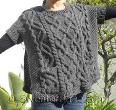 knitting pattern photo for cabled poncho sweater vest