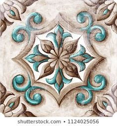 Design for ceramic tiles, majolica, watercolor ornament Painting Tile Floors, Fabric Painting, Decoupage Vintage, Decoupage Paper, Mandala Pattern, Mandala Art, Pinturas Art Deco, Art Deco Paintings, Tile Crafts