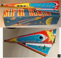 Space Rockets - SUPER ROCKET SPUTNIK-X - MAKER? - WEST GERMANY - ALPHADROME ROBOT AND SPACE TOY DATABASE