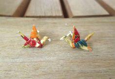 cute origami crane stud earrings
