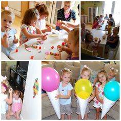 ice cream party games!Ice cream crafts (ice cream sunday foam craft magnents from Oriental trading), pin the cherry on the ice cream cone and ice cream cone balloon races.