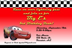 A Disney Mom's Thoughts Car's Birthday Party Invitation – Mickey Mouse Invitations Templates Cars Birthday Parties, Birthday Bash, Birthday Party Invitations, Lightning Mcqueen Party, Thoughts, Disney, Disney Art, Birthday Invitations, Ideas
