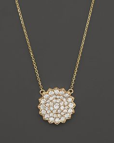 Diamond Large Cluster Flower Pendant Necklace in 14K Yellow Gold, 1.40 ct. t.w.