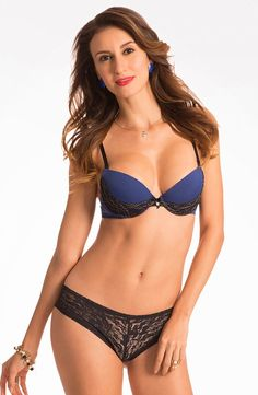 "3d605d4ed31 Prettysecrets ""Dazzle Darling"" Extreme Lift Midnight Blue Push Up Bra &  Lacy Hipster Set"