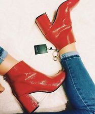 ZARA RED PATENT HEEL ANKLE BOOTS WITH METALLIC PULL TAB 36/6/3 REf.5113/101