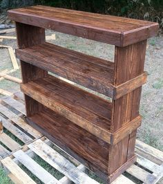 Rustic reclaimed pallet furniture shoe shelf book case storage unit 45 l x 47 t x 13 w