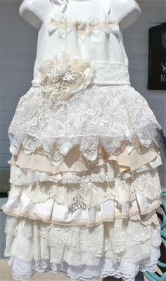 boho,country,beach rustic,wedding, flower girl dress, size 5, 6 and 7, vintage layers ruffles,ribbon tie shoulders,cream, ivory, silk,lace by mamma5design on Etsy