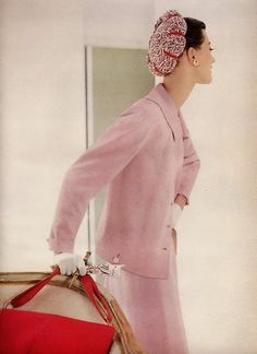 Vogue 1955 | pink and red