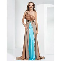 Sheath/Column One Shoulder Sweep/brush Train Chiffon Evening Dress – US$ 249.99