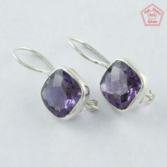 925 Sterling Silver Rare Amethyst Stone Collection Clip On Earrings E4068 #SilvexImagesIndiaPvtLtd #Clip