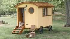Handcrafted Movement Tiny prefab Shepherd Hut is a picturesque time portal to the century inhabi. Gypsy Wagon, Gypsy Caravan, Gypsy Trailer, Teardrop Trailer, Cheap Land For Sale, Off Grid House, Mobiles, Wooden Wagon, Tiny Cottages